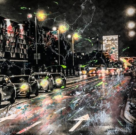 Photo-aquarelle 40x40 cm - Impression urbaine Luxembourg - Avenue JFK