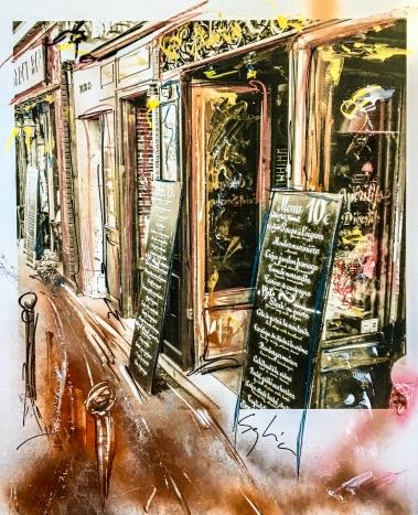 Pola-painting 52,8x64,2cm - Impression urbaine Paris - Brasserie