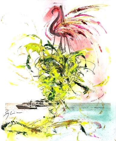 Pola-painting 52,8x64,2cm - Impression du Sud - Flamingo