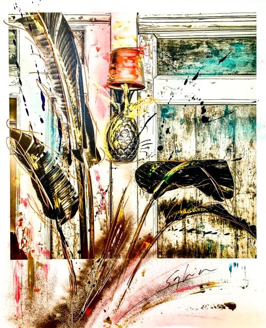 Pola-painting 52,8x64,2cm - Impression du sud - Ananas