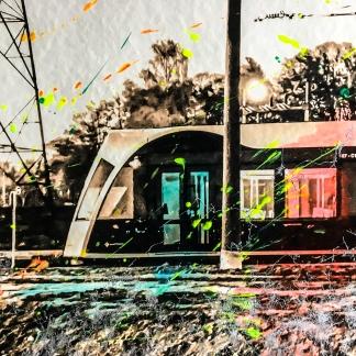 Photo-aquarelle 40x40 cm - Impression urbaine Luxembourg - Rainbow Tram