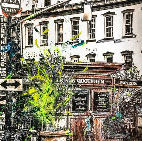 Photo-aquarelle 40x40 cm - Impression urbaine New York - Pain Quotidien