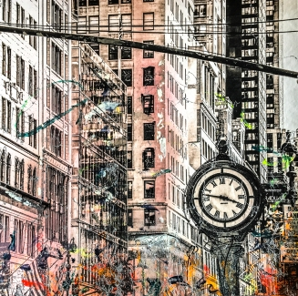 Photo-aquarelle 40x40 cm - Impression urbaine New York - Time