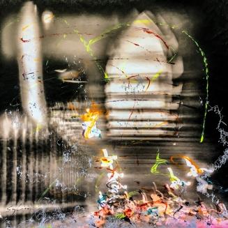 Photo-aquarelle 40x40 cm - Impression urbaine New York - Manhattan Bridge