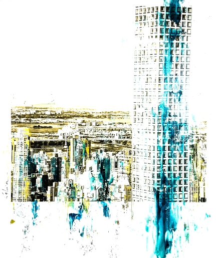 Pola-painting 52,8x64,2cm - Impression urbaine New York - Sky Lines