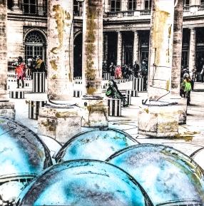 Photo-aquarelle 40x40 cm - Impression urbaine Paris - Cour du Palais Royal 1