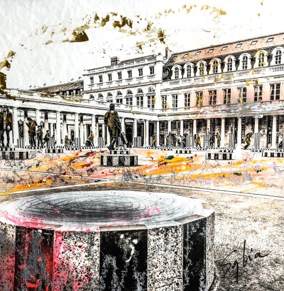 Photo-aquarelle 40x40 cm - Impression urbaine Paris - Cour du Palais Royal 2