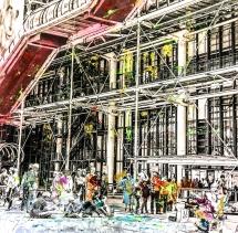 Photo-aquarelle 40x40 cm - Impression urbaine Paris - Centre Pompidou