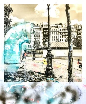 Pola-painting 52,8x64,2cm - Impression urbaine Paris - La Piazza