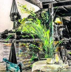 Photo-aquarelle 40x40 cm - Impression du sud - Eze Plage